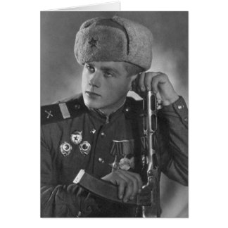 Vintage Russian Soldier Card