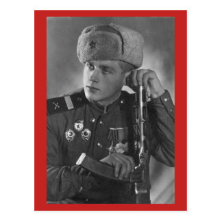Vintage Russian Soldier Postcard
