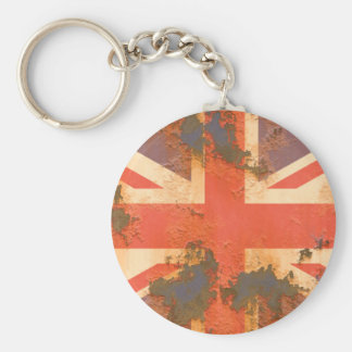 Vintage Rusted United Kingdom Flag Basic Round Button Keychain