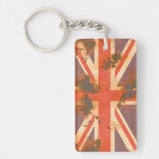 Vintage Rusted United Kingdom Flag Double-Sided Rectangular Acrylic Keychain