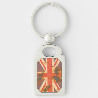 Vintage Rusted United Kingdom Flag Silver-Colored Rectangle Keychain