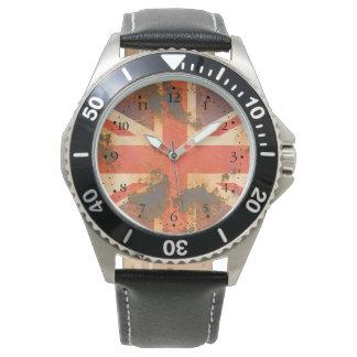 Vintage Rusted United Kingdom Flag Wristwatch