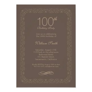 Vintage rustic 100th birthday party Invitations