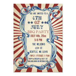 Vintage Rustic 4th of July BBQ Party Invitations