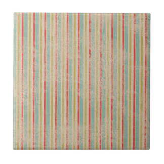 Vintage Rustic Beach Summer Stripes Tile