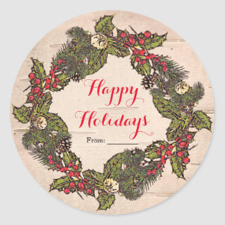 Vintage Rustic Birch Country Christmas Party Classic Round Sticker