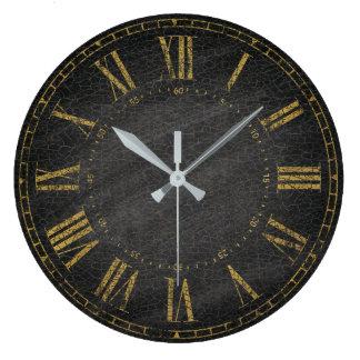 Vintage Rustic Black Gold Decorative Roman Numeral Large Clock
