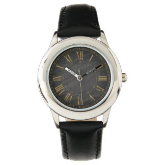 Vintage Rustic Black Gold Roman Numeral Designers Watch