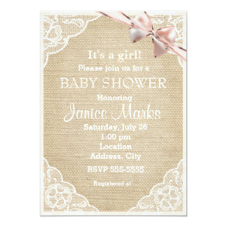 Vintage Rustic Burlap Lace Baby Shower Invitation