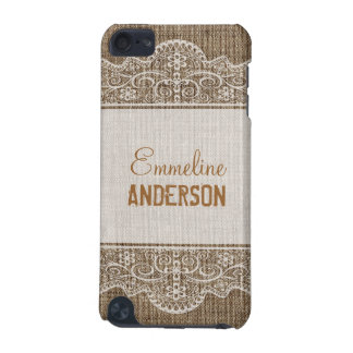 Vintage Rustic Burlap with Beautiful Floral Lace iPod Touch 5G Covers