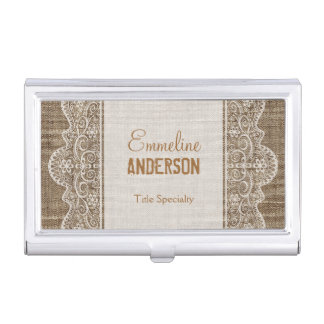 Vintage Rustic Burlap with Floral Lace Business Card Holder