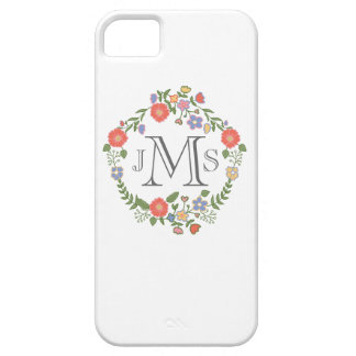 Vintage rustic chic wedding monogram initial flora iPhone 5 case