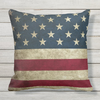 Vintage Rustic Country American Flag Outdor Pillow