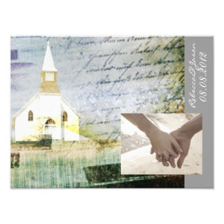 vintage rustic country chapel wedding art photo