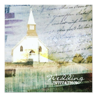 vintage rustic country chapel wedding card
