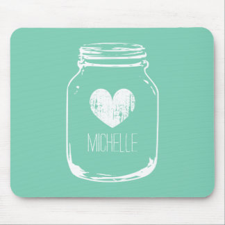 Vintage rustic country chic mason jar mouse pad