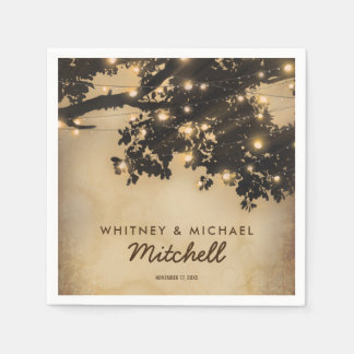 Vintage Rustic Country Tree Lights Wedding Disposable Napkins
