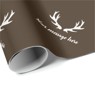 Vintage rustic deer antler hunting theme brown wrapping paper