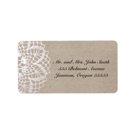 Vintage Rustic Doily Address Label