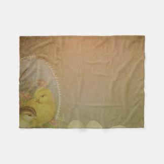 Vintage Rustic Easter Chicken Fleece Blanket