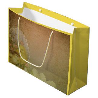 Vintage Rustic Easter Chicken Large Gift Bag