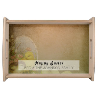 Vintage Rustic Easter Chicken Serving Tray