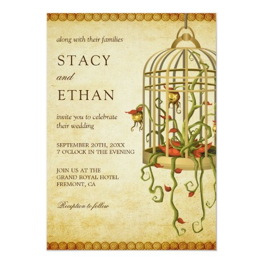 Vintage Rustic Floral Birdcage Wedding Invitation