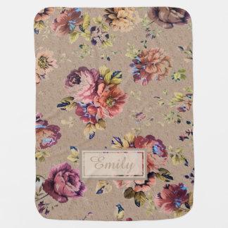 Vintage Rustic Floral Stroller Blanket