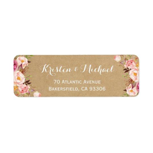 Vintage Rustic Floral Wrapping Kraft Return Address Label