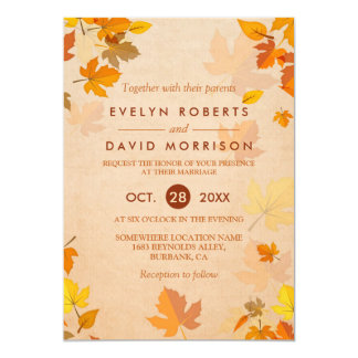 Vintage Rustic Gold Autumn Leaves Formal Wedding Card