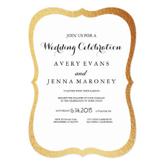 Vintage Rustic Gold Foil Border Wedding Invitation