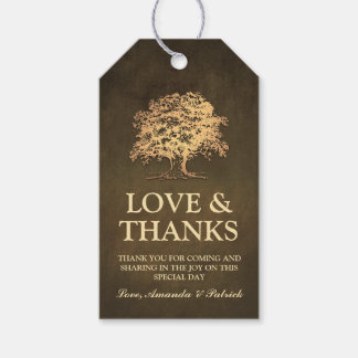 Vintage Rustic Gold Oak Tree Wedding Thank You Gift Tags