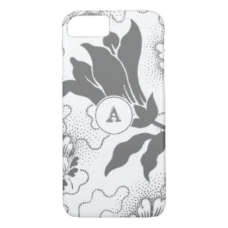 Vintage Rustic Gray Floral Print With Monogram iPhone 8/7 Case