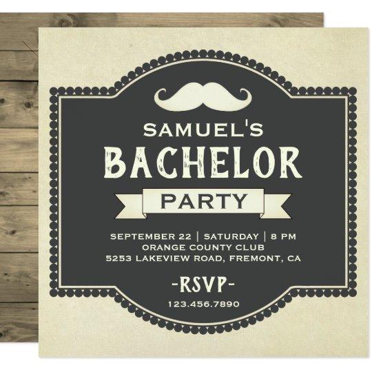 Vintage Rustic Moustache Bachelor Party Invitation