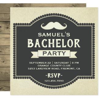 Vintage Rustic Mustache Bachelor Party Invitation