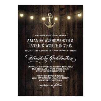 Vintage Rustic Nautical Anchor Wedding Invitations