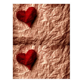 Vintage rustic paper crumbled  + red textile heart postcard