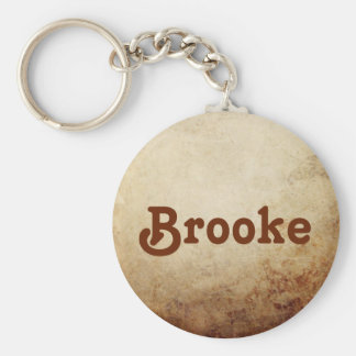 Vintage Rustic Paper Texture Rust Brown Basic Round Button Keychain