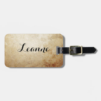 Vintage Rustic Paper Texture Rust Brown Luggage Tag
