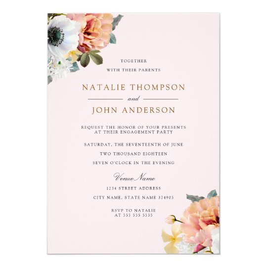 Vintage Rustic Peach Floral Engagement Party Card