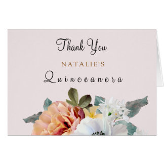 Vintage Rustic Peach Floral Quinceanera Thank You Card