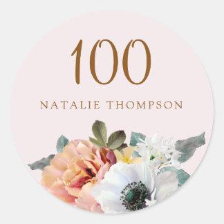 Vintage Rustic Peach Flower 100th Birthday Party Classic Round Sticker