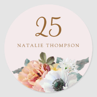 Vintage Rustic Peach Flower 25th Birthday Party Classic Round Sticker