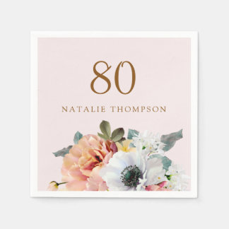 Vintage Rustic Peach Flower 80th Birthday Party Paper Napkins
