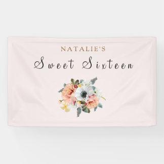 Vintage Rustic Peach Flower Sweet 16 Banner