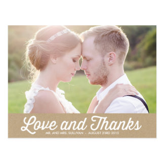 VINTAGE RUSTIC | PHOTO WEDDING THANK YOU POSTCARD
