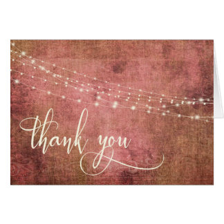 Vintage Rustic Pink & Burlap w Lights 3b Thank You Card