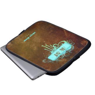 Vintage Rustic Print laptop sleeve brown blue