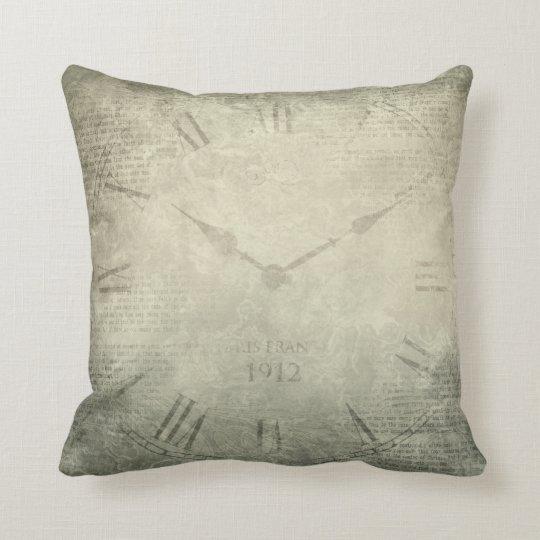 Vintage rustic retro clock script pattern throw pillow
