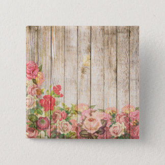 Vintage Rustic Romantic Roses Wood 2 Inch Square Button